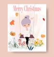 cute girl cartoon and merry christmas invitation vector image