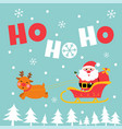 cute santa and reindeer greeting card vector image