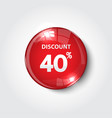 discount button color red glossy vector image vector image