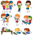doodle kids activities on white vector image