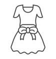 dress with bow thin line icon girls clothes vector image