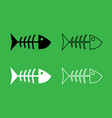 Fish sceleton icon black and white color set