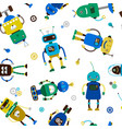 funny robots pattern vector image vector image