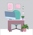 home office workplace desk with computer chair vector image vector image
