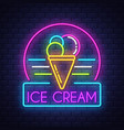 ice cream- neon sign on brick wall background vector image vector image