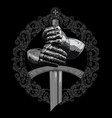 knight design armour gloves knight shield vector image vector image