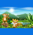 landscape views of mountains with wild animal vector image vector image