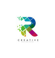 letter r design with rainbow shattered blocks vector image vector image