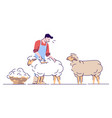 male farmer shearing sheep flat character wool vector image vector image
