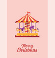 merry christmas greeting card colorful carousel vector image