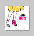 mothers day greeting card with hand drawn woman vector image