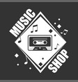 music shop promotional logotype with retro vector image vector image