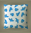 pillow with blue bird pattern vector image vector image