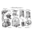process of wine production vector image vector image