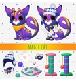 Purple magic cat with toys and winter clothing vector image vector image