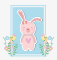 rabbit female with flowers plants design vector image