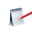 red pencil on calendar page for remind and marked vector image vector image