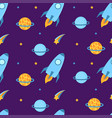 Rockets fly in space with planets and stars
