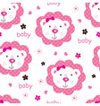 seamless pattern with cute baby girl lions vector image vector image