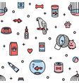 seamless pattern with pet shop products and funny vector image