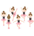 set of isolated cute ballerina girl vector image