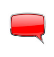 speech bubble square red 3d icon with chrome vector image