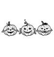 three wise halloween pumpkins vector image