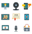 webinar training online icons set flat style vector image vector image