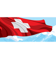 Mountain and Swiss flag vector image