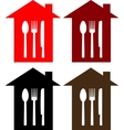 set of restaurant sign with house spoon fork and vector image