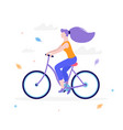 slim girl riding a bicycle in flat design isolated vector image