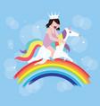 kids girls riding horse unicorn fly around rainbow vector image