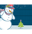 background with snowman and one christmas tree vector image