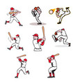 baseball sport mascot cartoon set vector image