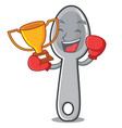 boxing winner spoon character cartoon style vector image vector image