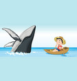 boy on the boat next to whale vector image vector image
