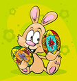 bunny hold easter egg isolated on green background vector image