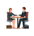 businessman and business woman shaking hand over vector image