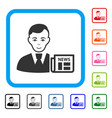 businessman news framed cheerful icon vector image