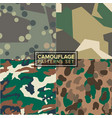 camouflage pattern set four different textures vector image vector image