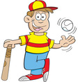 Cartoon boy with a baseball and bat vector image