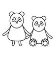 cute bears pandas couple childish characters vector image