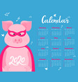 cute pig in a superhero costume in a mask and a vector image vector image