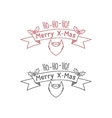 Dot work styled hipster christmas label badge vector image vector image