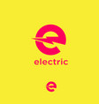 electric logo letter e with lightning vector image