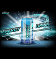 energy drink ads drink aluminum can vector image vector image
