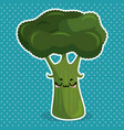 fresh broccoli vegetable kawaii character vector image
