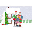 friends of a woman and a man christmas winter vector image vector image