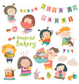 funny cartoon children and sweets vector image vector image