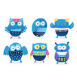 funny owls collection in cartoon style vector image vector image